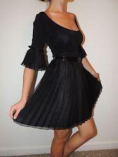 Bebe Women's Black Dress Mini size XS Round Neck Pleated skirt Belted New