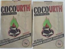 CocoUrth 192 Pcs Natural Coconut Hookah Charcoal Coal Shisha Nara( (FLATS) 2x1kg