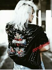 ZARA NEW BLACK FAUX LEATHER EMBROIDERED STUDDED PUNK ROCK BOMBER JACKET SIZE S