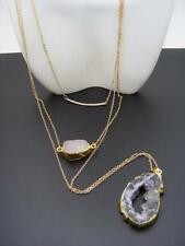 $26 Panacea Triple 3-Row Bar Double Gilded Gold Druzy Layering Necklace Goldtone