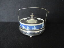 WEDGWOOD DARK BLUE JASPER BUTTER DISH WITH EPNS LID AND EPNS STAND