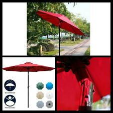 Outdoor 9' Patio Table Umbrella with 8 Sturdy Ribs Red Compact Rain Canopy Shade