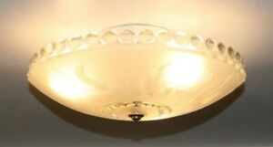 """Antique frosted flush mount 13"""" art deco light fixture ceiling chandelier 1940s"""