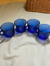 LOT OF 4 COBALT BLUE MEXICAN SMALL GLASS MUGS WITH CHECKERED DESIGN
