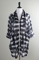 JOSEPH RIBKOFF $228 Mesh Stretch Semi Sheer Zip Up Long Jacket Top Size 12