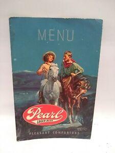 1950's MENU PAPERBOARD Pearl Lager Beer advertising Old