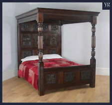 Tudor Style Carved King Size Oak Full Tester Four 4 Post Poster Bed (5ft Wide)