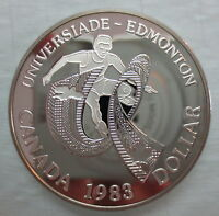 1983 CANADA WORLD UNIVERSITY GAMES - EDMONTON PROOF SILVER DOLLAR COIN