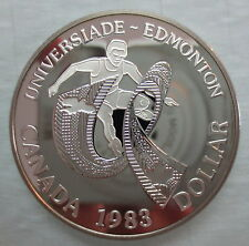 1983 CANADA WORLD UNIVERSITY GAMES - EDMONTON PROOF SILVER DOLLAR COIN