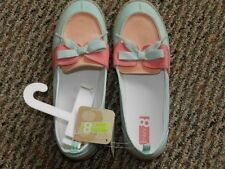 NWT Crazy 8 by Gymboree Canvas Peach/Mint Green Slip On Shoes Big Girl Size 5