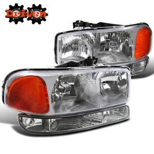 99-06 GMC Sierra Truck Chrome Housing Headlights +Turn Signal Crew Cab Single