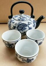 Blue & White by Pier 1 Teapot and 3 Cups
