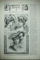 1904 Moda Estampado Artículo Nuevo Moda En Sombreros Oro Galon Taffetas