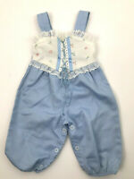 Vintage Evy Baby Overalls 3 6 Months 3-6 Mos Blue White Eyelet Floral 60s 70s cc