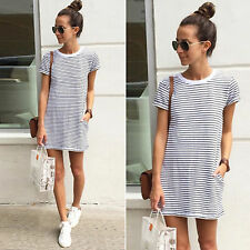 Women Summer Beach Dress Short Sleeve Stripe Long Tops T Shirt Mini Sundress Tee