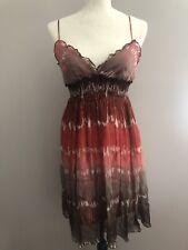 Bcbg Maxazria Womens Ombre Sun Dress Silk Size Small Lettuce Edge