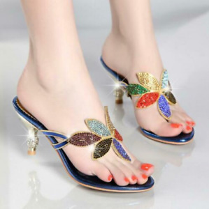 Luxuious Rhinestones Summer Party Women High Heels Flip Flops Party SandalsFeng8