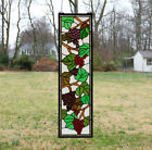 10  x 36  Handcrafted stained glass window panel flower Grape w  Vine