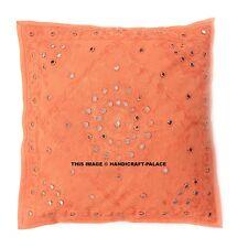"Indian Mirror Work Embroidered Sofa Cover 16"" Decorative Orange Cushion Throw"