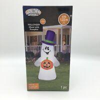 Halloween 4 FT Airblown Inflatable Light Up Ghost w Pumpkin-Purple Top Hat NEW