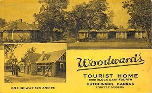 Postcard Woodward's Tourist Home Hotel in Hutchinson, Kansas~111278