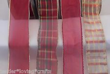 """ASSORTED REDS 2 1/2""""  WIRE RIBBON 5 YARDS XMAS,CRAFTS,BOWS"""