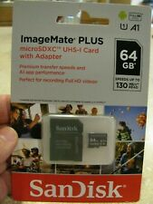 NEW! SANDISK 64GB A1 IMAGEMATE PLUS microSDXC UHS-I CARD MOD#SDSQUB3-064G-AWCKA