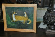 Antique  fox with cub        Beautiful  Oil  Painting