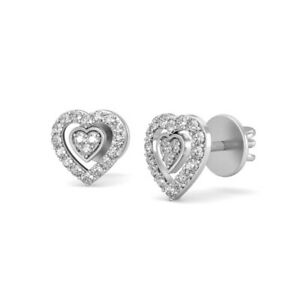 Micro Pave Set Crystal Clear Cubic Zirconia, 10K White Gold Double Heart Earring