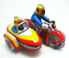 MS281 Vintage Motorcycle Side Car Retro Clockwork Wind Up Tin Toy Collectible