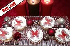 PRE-CUT CHRISTMAS BUTTERFLIES EDIBLE WAFER PAPER CUP CAKE TOPPER DECORATIONS