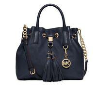 NWT MICHAEL MICHAEL KORS Camden Medium Leather Drawstring Satchel $358 Navy Blue