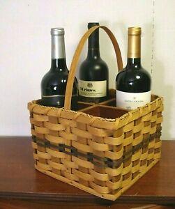 woven WICKER WINE bottle HOLDER CARRIER BASKET caddy AMISH handmade loop handle