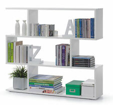White Gloss Bookcase Unit Home Decor Living Room Furniture Modern Style Shelves