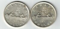 CANADA 1953 SF & NSF VOYAGEUR SILVER DOLLARS QUEEN ELIZABETH SILVER COINS