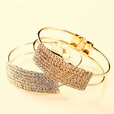*UK* Ladies Crystal gold Rhinestone cuff Bangle diamante Bracelet Jewellery 1099