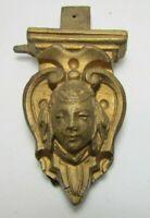 Antique Wooden Carved Head Face Decorative Arts Hardware Element Salvage Part