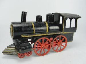 """EARLY 1920'S D.P. CLARK WOODEN TRAIN STEAM LOCOMOTIVE HILL CLIMBER TOY 14"""""""