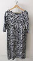 J. JILL Wearever Herringbone Stripe Print Dress Stretch 3/4 Sleeve Blue White M