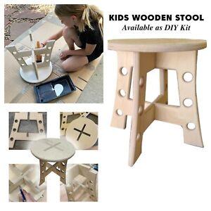 "DIY Kids Stool Kit. Wooden 13"" stool with paint, brush, glue, stencils."