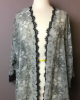 NEW Victori's Secret Collection Sheer Gray and Black Lace Robe Size M