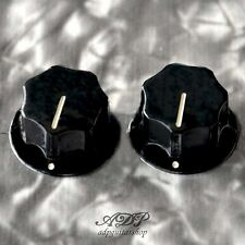 2x BOUTONS pour MUSTANG axe Plein PK-3256-023 Black Knobs Fits solid shaft pots