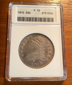 1810 CAPPED BUST SILVER HALF DOLLAR ANACS F 12