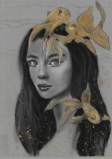 original drawing A3 78HO art samovar Realism Pastel female portrait Signed 2021