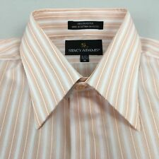 NWT Stacy Adams Mens Peach Striped Long Sleeve Shirt Polyester M French Cuff
