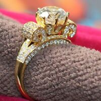 Real 14k Yellow Gold Wedding Engagement Ring 2.75 Ct Round Cut White Diamond