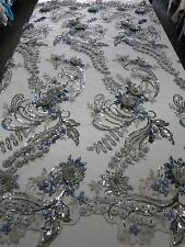 "Silver Mesh w/ Embroidery Beaded Lace & Sequins Fabric - 52"" - Sold by the Yard"
