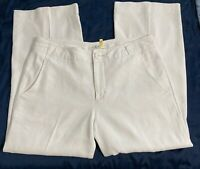 """CABI 813 Everly Sz 8 White Lined Linen Blend Pants Short. Altered To 26"""" Inseam"""