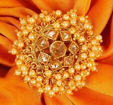RN- 740 Bridal Ring Indian Gold Tone Kundan Bridal Jewelry Bollywood Jewelry