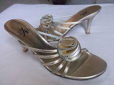Stuart Weitzman Silver / Gold Leather Open Toe Sandals Heels Corsage Flower 7.5M